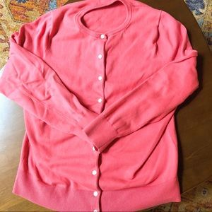 Lands End coral Supima cardigan 0x = 14w